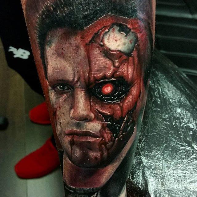 Terminator portrait Tattoo by #AlexWright #terminatortattoo
