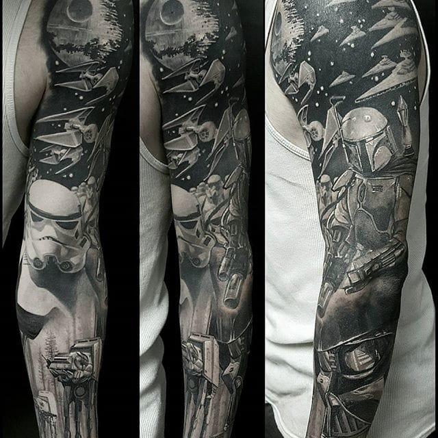 Black and grey Star Wars tattoo by #ChrisAdamek.