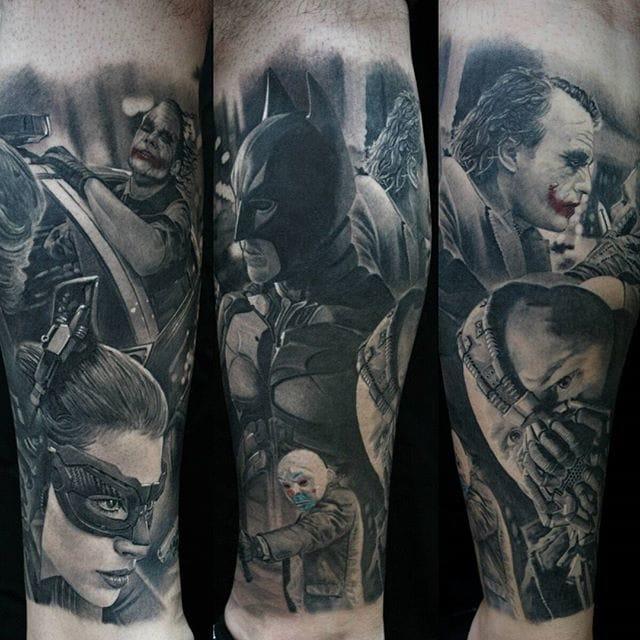Black and grey bratman tattoo by #ChrisAdamek.
