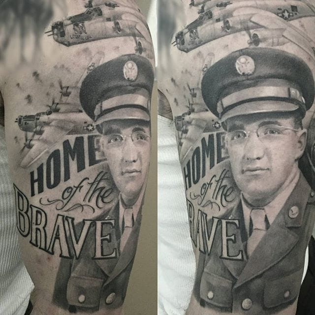 Black and grey officer tattoo by #ChrisAdamek.