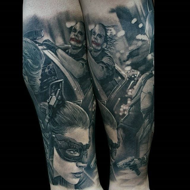Black and grey movie-themed tattoo by #ChrisAdamek.