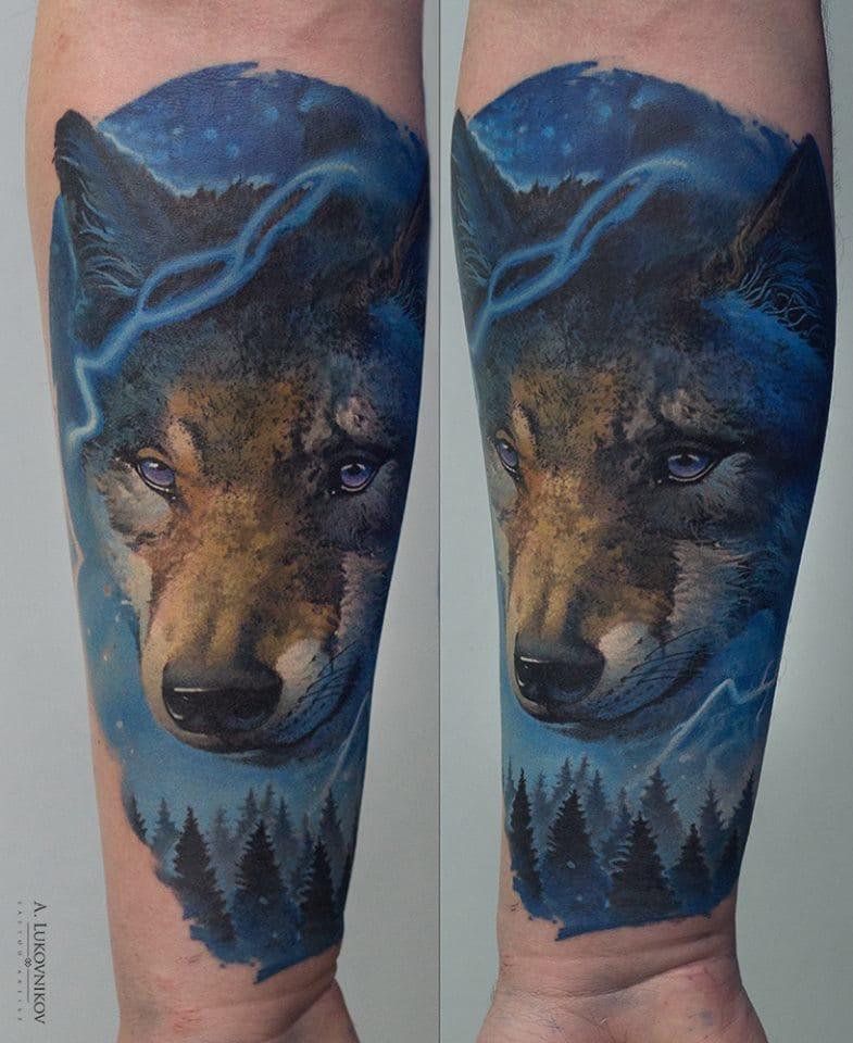 Gorgeous wolf! ##AndreyLukovnikov #wolftattoos