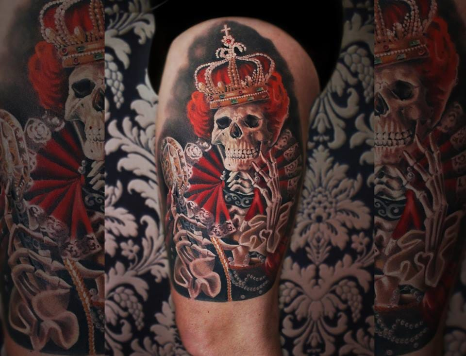Inspired by one of her paintings #skeletontattoos #queentattoos #MoniMarino #realistictattoos