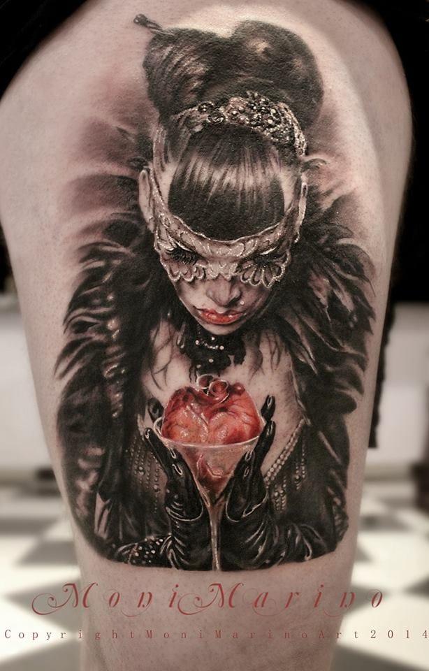 Dark beauty #MoniMarino #realistictattoos #anatomicalhearttattoos