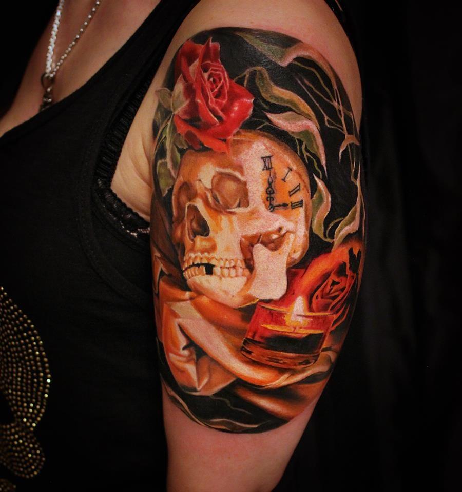 Perfection #skulltattoos #rosetattoos #candletattoos #3Dtattoos #MoniMarino #realistictattoos