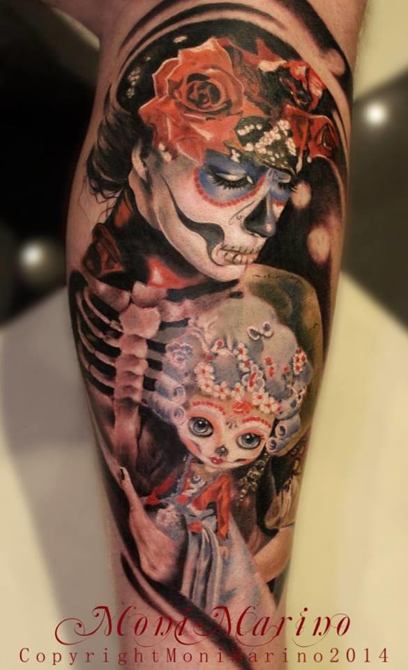 Epic sugar skull girl tattoo! #sugarskullgirltattoos #MoniMarino #realistictattoos #Diadelosmuertostattoos