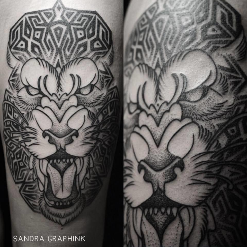 Fierce tiger #tigertattoos #SandraGraphInk #dotwork