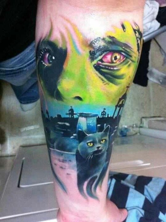 Bright colors on this Pet Sematary tattoo.