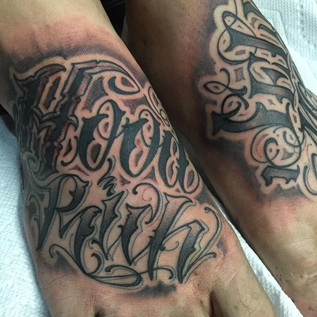 Lettering tattoo by #Norm. Photo from @normwillrise