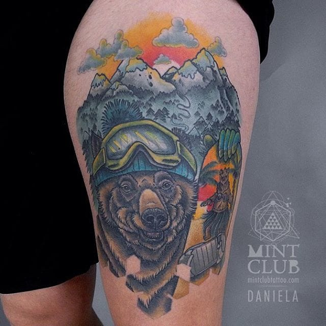 Mountain climbing grizzly! by Daniela Sagel
