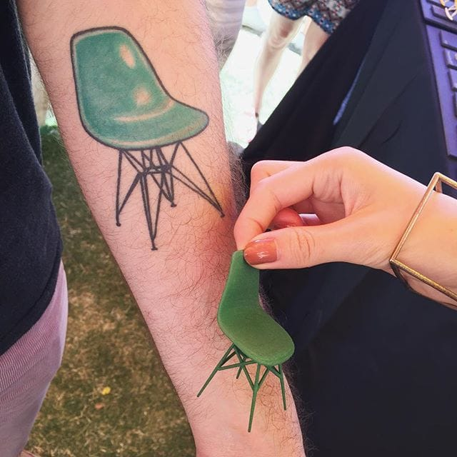Classic green Eames chair tattoo, via @alminty3d