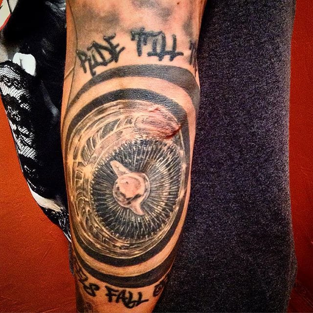 Ride Till The Wheels Fall Off tattoo by Alfonso at Glass Beetle Tattoo