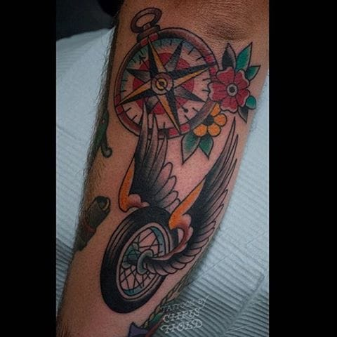 The flying wheel and a compass, by Chris Hold