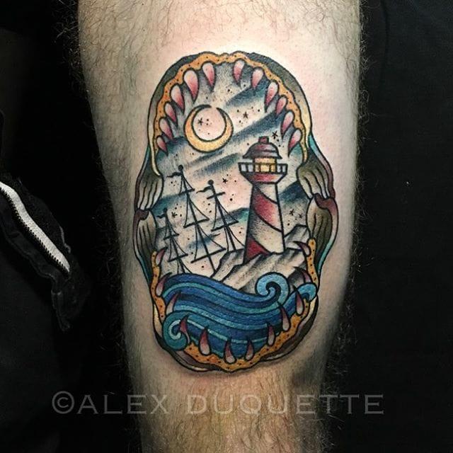 Shark Jaw Tattoo by Alex Duquette #shark #sharkjaw #traditional #alexduquette