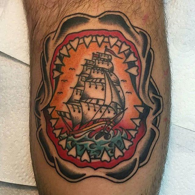 Shark Jaw Tattoo by Dan Edge #shark #sharkjaw #traditional #danedge