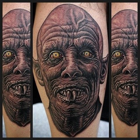 Nightmarish detailed Salem's Lot tattoo by Dave Wah.