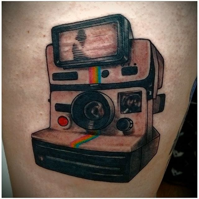 A classic Polaroid 1000 with the flash! by @aktattoos