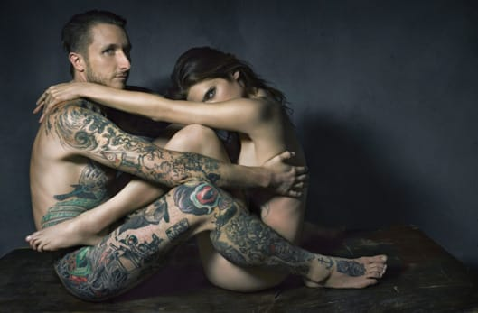 Campbell with wife, Lake Bell. No wonder he's a romantic.