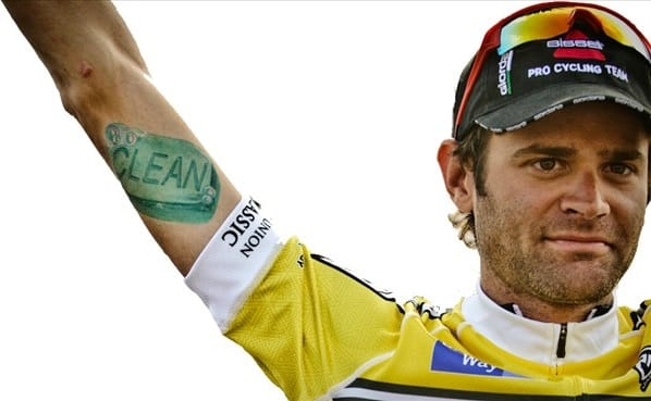 The Bicycle rider Phil Gaimon started a movement for clean riders with this tattoo, artist unknow