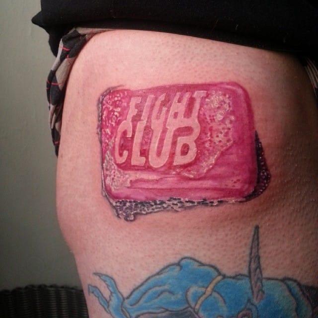 Classic Fight Club soap tattoo! By @peterjustice1