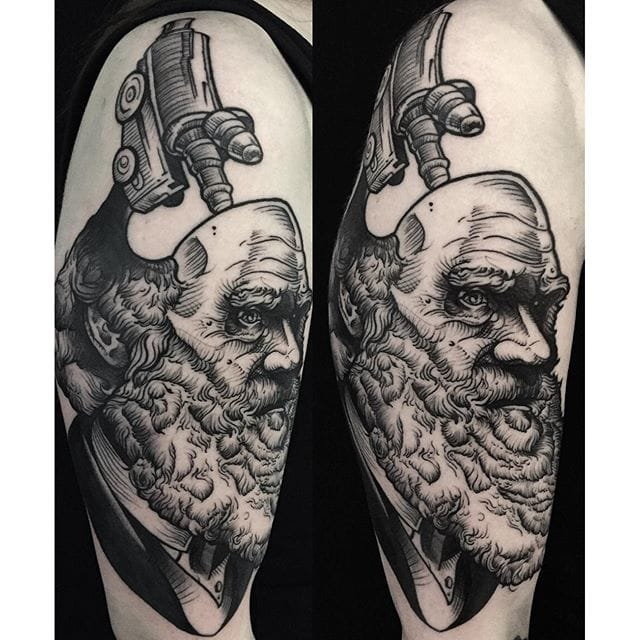 Tattoo by Phil Kaulen #charlesdarwin #darwin #portrait #philkaulen