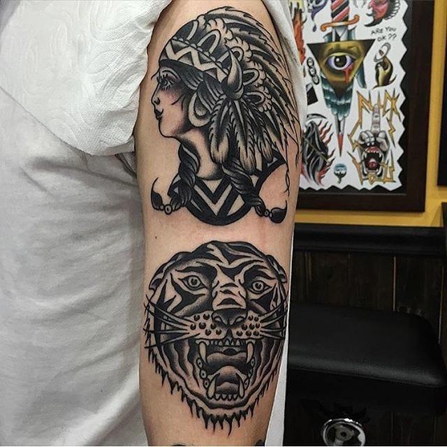 Tattoo by @otatattooer #blackwork #traditional #nativeamerican #otattooer