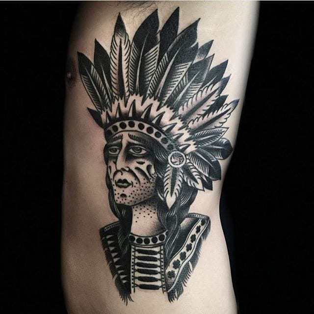 Tattoo by Austin Maples #blackwork #traditional #nativeamerican #austinmaples