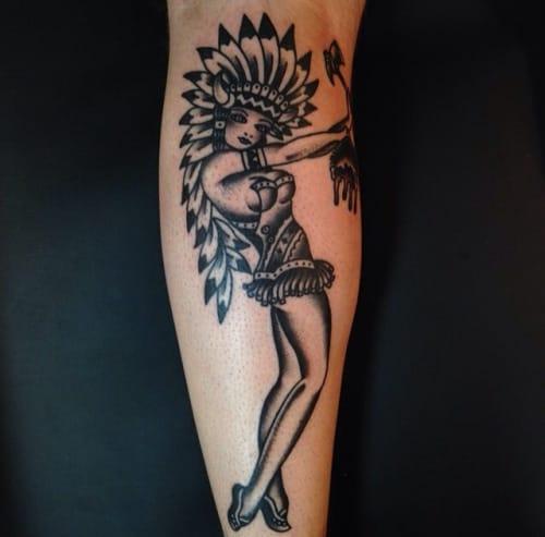 Blackwork Native American Tattoo by Bailey Hunter Robinson #blackwork #traditional #nativeamerican #baileyhunterrobinson