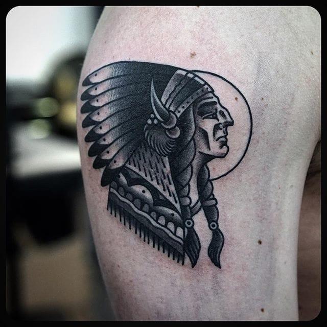 Tattoo by Philip Yarnell #blackwork #traditional #nativeamerican #philipyarnell