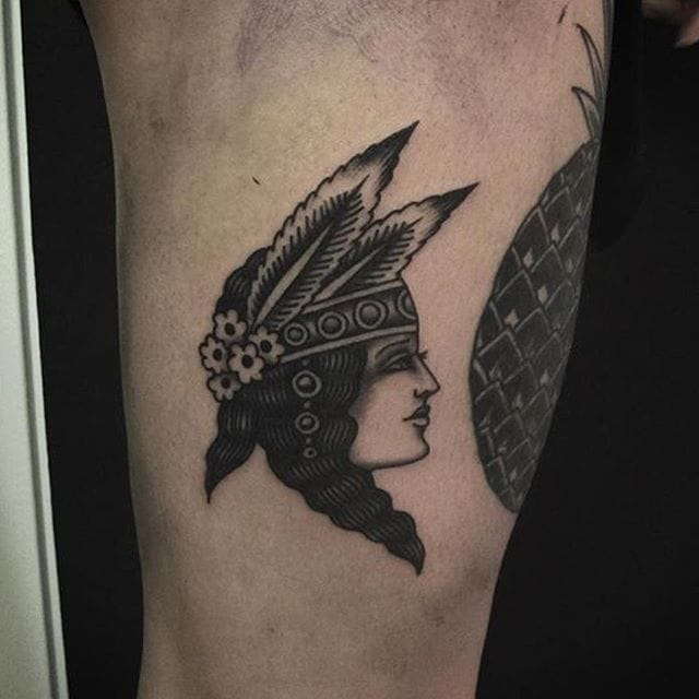 Tattoo by Simon Gyllström #blackwork #traditional #nativeamerican #simongyllstrom