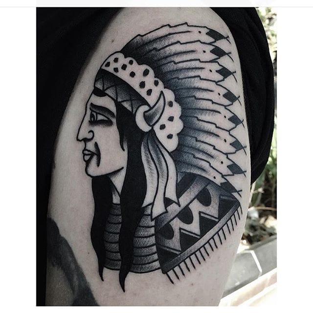 Tattoo by Stacey Ann #blackwork #traditional #nativeamerican #staceyann