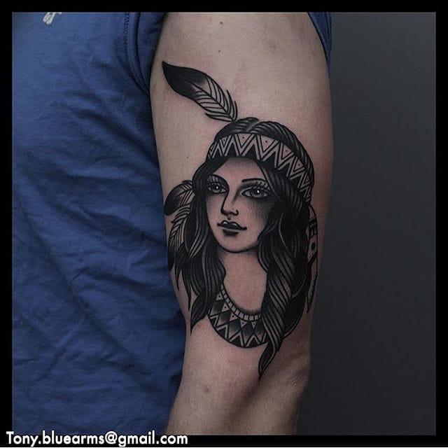 Tattoo by Tony Nilsson #blackwork #traditional #nativeamerican #tonynilsson