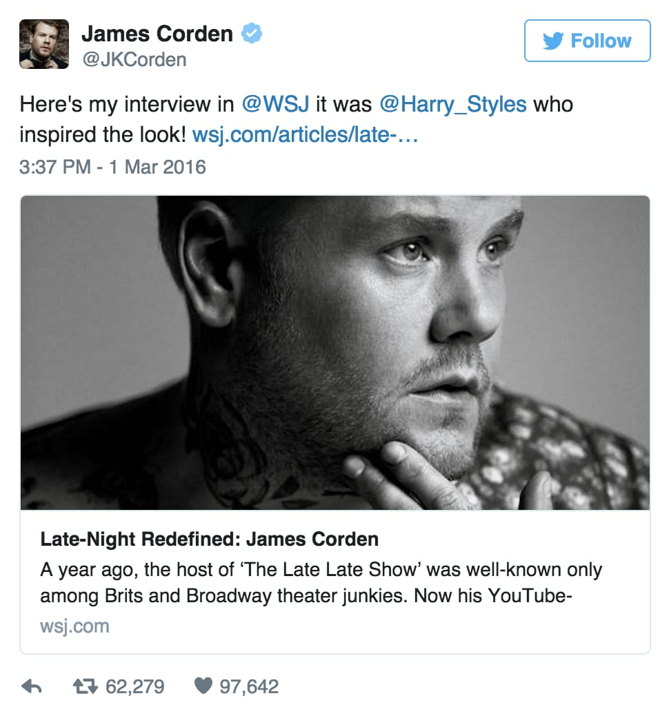 Corden tweeted this, giving credit where credit is due. via People Magazine