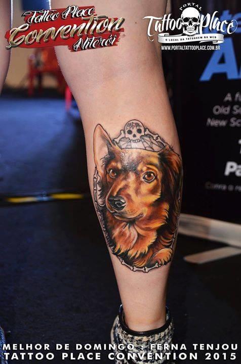 Trabalho da Ferna Tenjou! #cachorro #custom #tatuadorasbrasileiras #talentonacional #rainhasdatattoo #brasil #brazil #portugues #portuguese