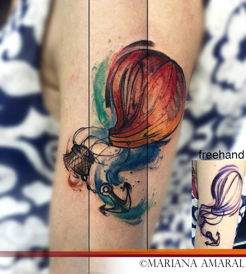 Maravilhosa tatuagem de Mariana Amaral! #aquarela #balão #colorida #delicada #tatuadorasbrasileiras #talentonacional #rainhasdatattoo #brasil #brazil #portugues #portuguese