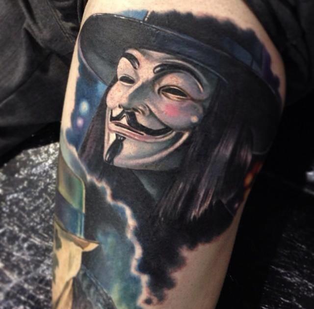 V For Vendetta #vdevingança #nerd #realismocolorido #realismo #tatuagensrealistas #talentogringo #paulacker #brasil #brazil #portugues #portuguese