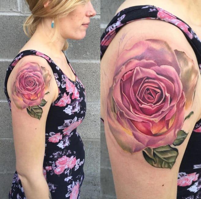 Rose tattoo. Photo: Chase Tafoya Instagram. #ChaseTafoya #rosetattoo