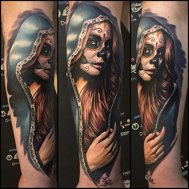 Day of the Dead inspired tattoo portrait #tattoorealism #colorportrait #colorrealism #randyengelhard