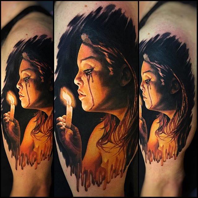 Mysterious portrait tattoo #tattoorealism #colorportrait #colorrealism #randyengelhard