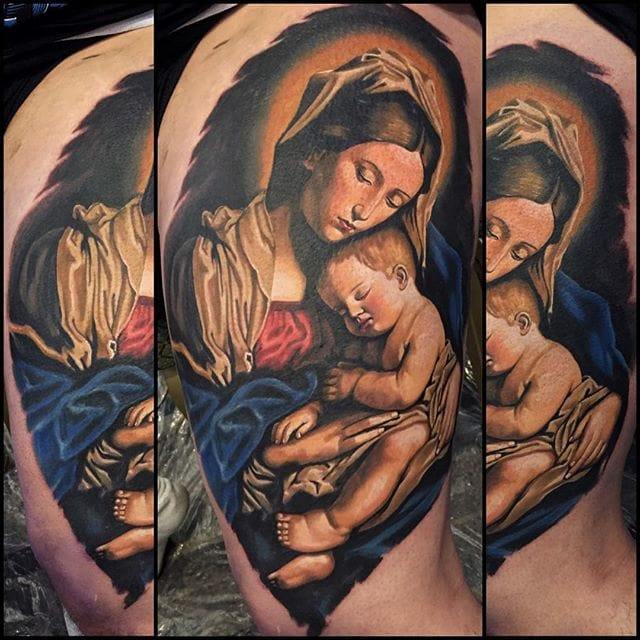 Realistic religious tattoo #tattoorealism #colorportrait #colorrealism #randyengelhard