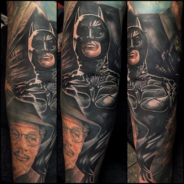 Realistic Batman tattoo #tattoorealism #colorportrait #colorrealism #randyengelhard