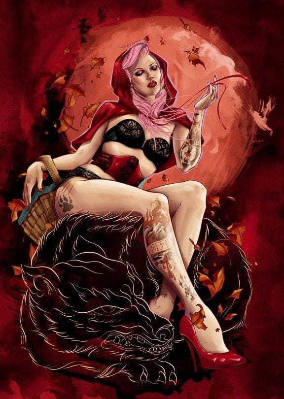 Pin-up tattooed art #redridinghood #tattooedmodel #painting #pinups #TysonMcadoo