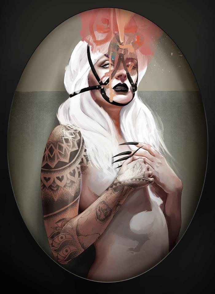 Pin-up tattooed art #tattooedmodel #painting #pinups #TysonMcadoo