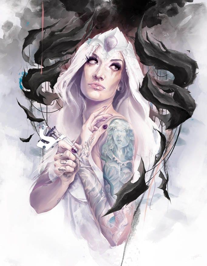 Pin-up tattooed art#tattooedmodel #painting #pinups #TysonMcadoo