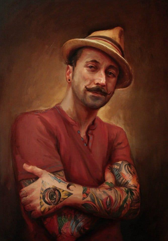 Tattooed portrait painting of Shawn Barber #TysonMcadoo #ShawnBarber #tattooedart