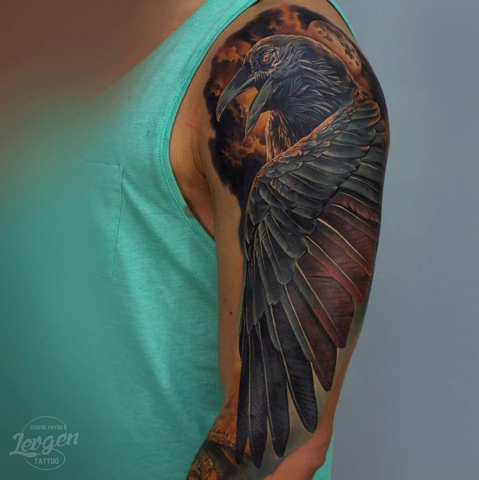 Realistic crow tattoo #crowtattoo #realistictattoos #Levgen #EugeneKnysh