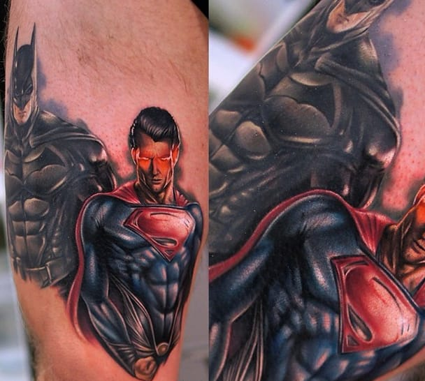 Man of Steel and the Dark Knight from Khant Tattoo