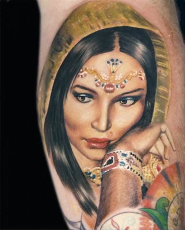 Indian woman tattoo #Indianwomantattoo #realistictattoo #AlexdePase #IndiaInspiredtattoos