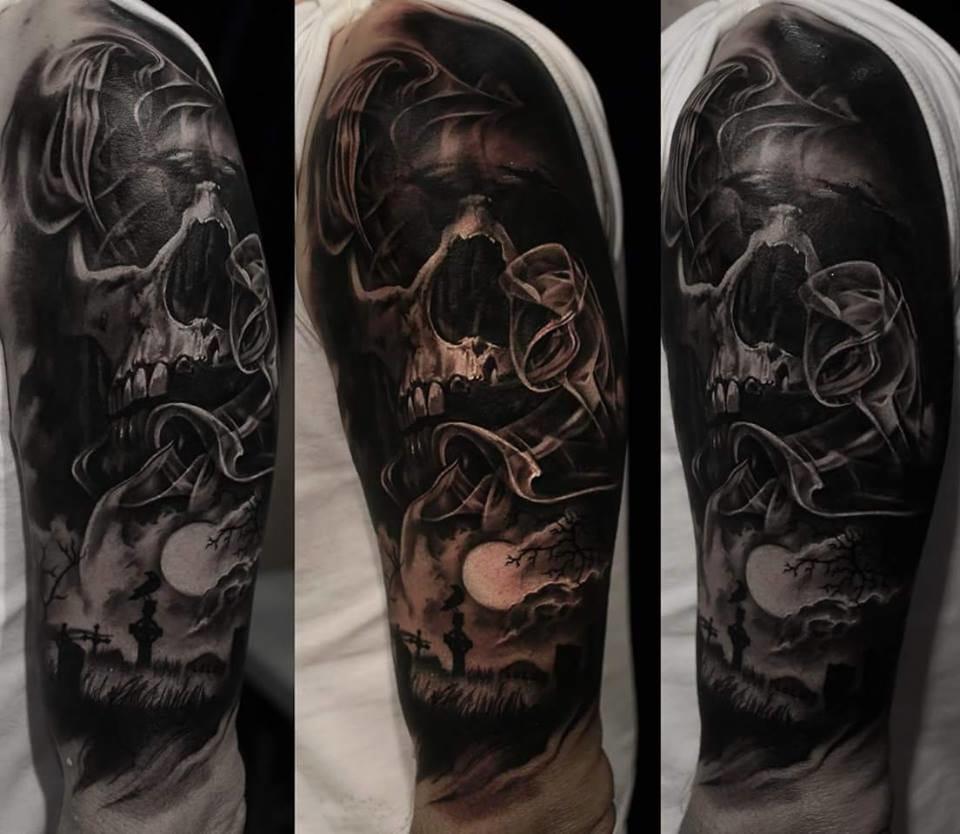 Dark skull tattoo #skulltattoo #smoketattoo #cemeterytattoo #blackandgreytattoos #GabrielePais