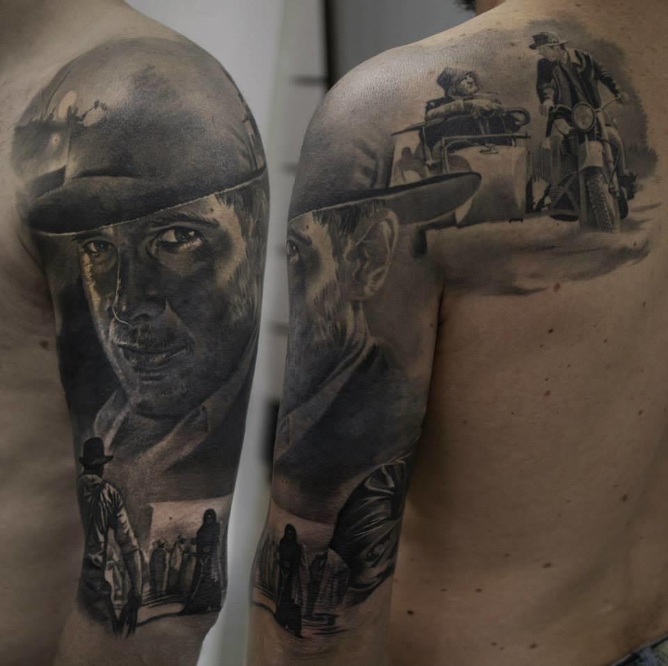 Indiana Jones portrait tattoo #indianajonestattoo #blackandgreytattoos #GabrielePais